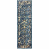 Woven - Empire Blue Ivory Oriental Distressed Traditional Rug