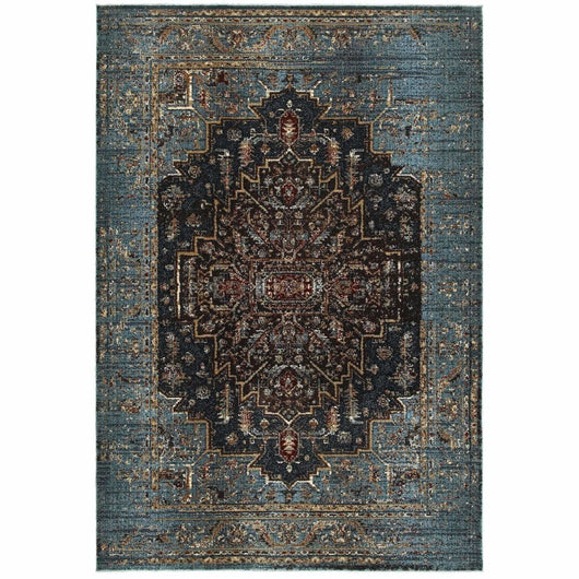 Woven - Empire Blue Navy Oriental Medallion Traditional Rug