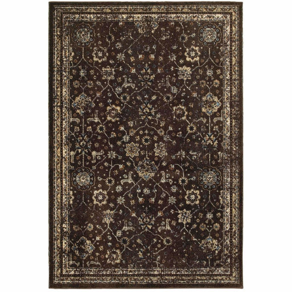 Empire Brown Ivory Oriental Distressed Traditional Rug - Free Shipping