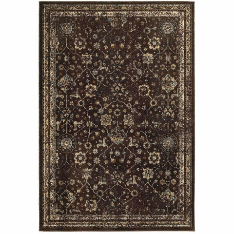 Empire Brown Ivory Oriental Distressed Traditional Rug