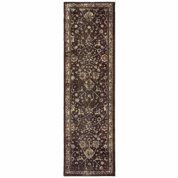 Woven - Empire Brown Ivory Oriental Distressed Traditional Rug