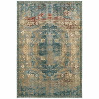 Empire Gold Blue Oriental Medallion Traditional Rug - Free Shipping