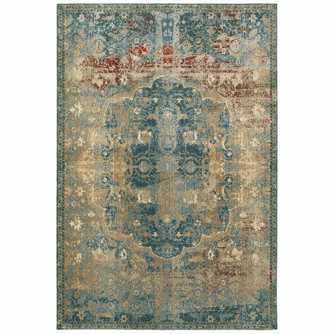 Empire Gold Blue Oriental Medallion Traditional Rug