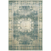 Empire Ivory Blue Oriental Distressed Traditional Rug - Free Shipping