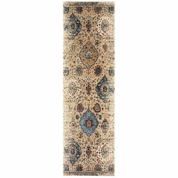 Woven - Empire Ivory Blue Oriental Distressed Traditional Rug