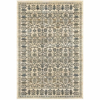 Empire Ivory Blue Oriental Floral Traditional Rug - Free Shipping