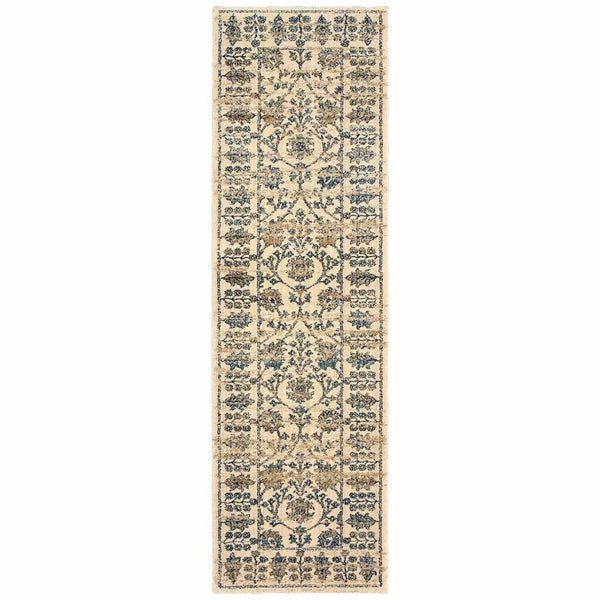 Woven - Empire Ivory Blue Oriental Floral Traditional Rug