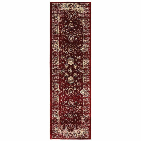 Woven - Empire Red Ivory Oriental Distressed Traditional Rug