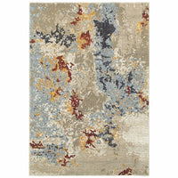 Evolution Beige Blue Abstract Abstract Contemporary Rug - Free Shipping
