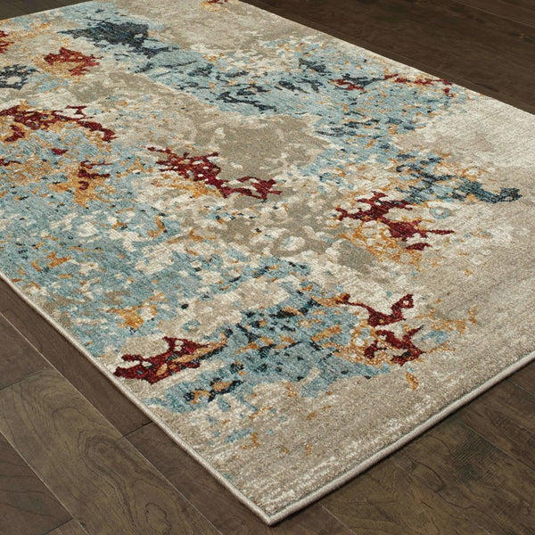 Woven - Evolution Beige Blue Abstract Abstract Contemporary Rug