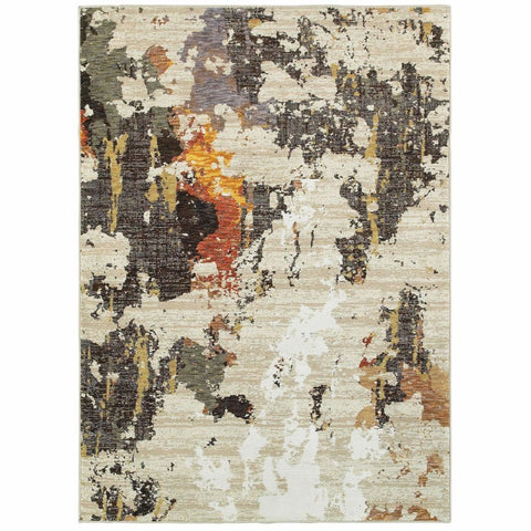 Evolution Beige Charcoal Abstract Abstract Contemporary Rug