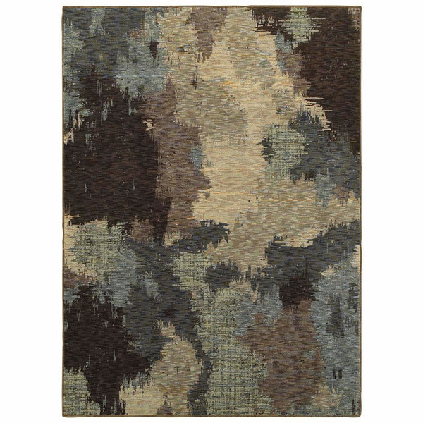 Evolution Blue Brown Abstract Abstract Contemporary Rug - Free Shipping