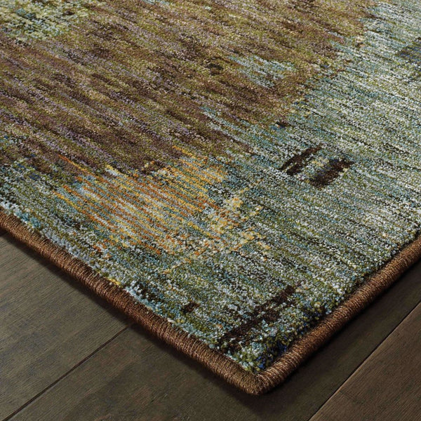 Woven - Evolution Blue Brown Abstract Abstract Contemporary Rug