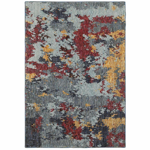 Oriental Weavers Evolution Blue Red Abstract Abstract Contemporary Rug