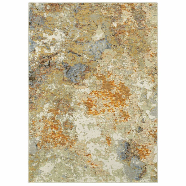 Evolution Gold Beige Abstract Abstract Contemporary Rug - Free Shipping
