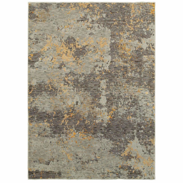 Evolution Grey Gold Abstract Abstract Contemporary Rug - Free Shipping