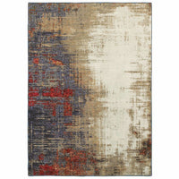 Evolution Ivory Multi Abstract Abstract Contemporary Rug - Free Shipping
