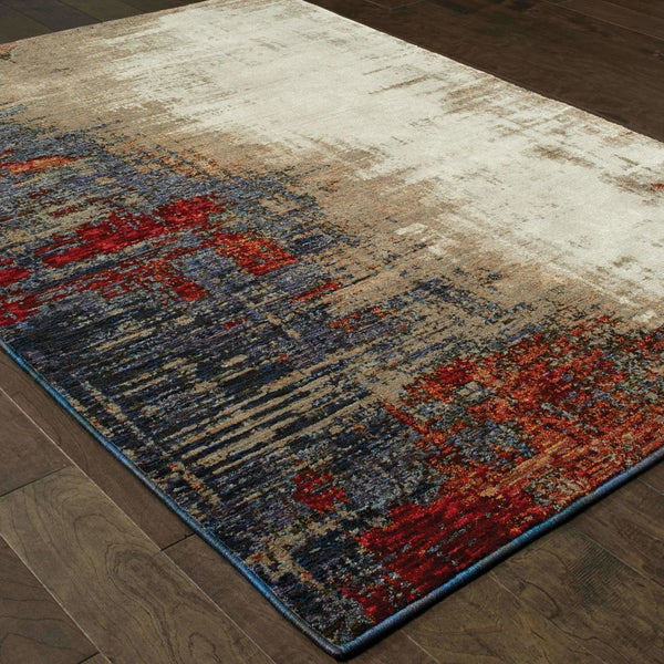 Woven - Evolution Ivory Multi Abstract Abstract Contemporary Rug
