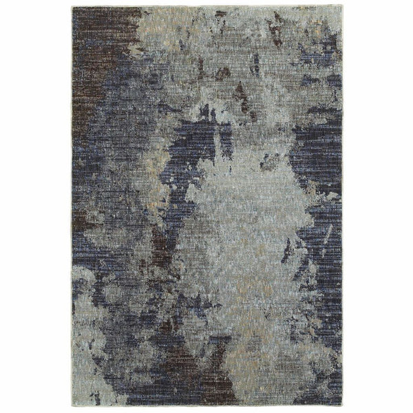 Evolution Navy Blue Abstract Abstract Contemporary Rug - Free Shipping