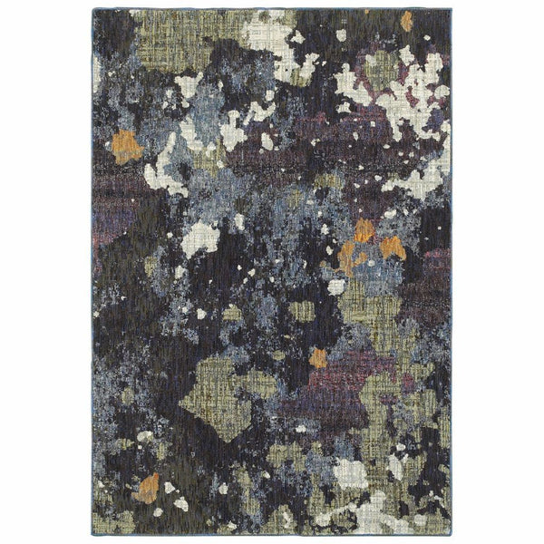Evolution Navy Green Abstract Abstract Contemporary Rug - Free Shipping