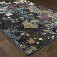 Woven - Evolution Navy Green Abstract Abstract Contemporary Rug