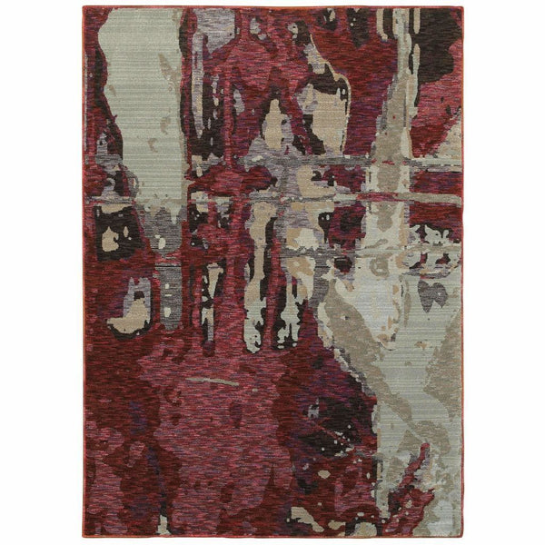 Evolution Red Beige Abstract Abstract Contemporary Rug - Free Shipping