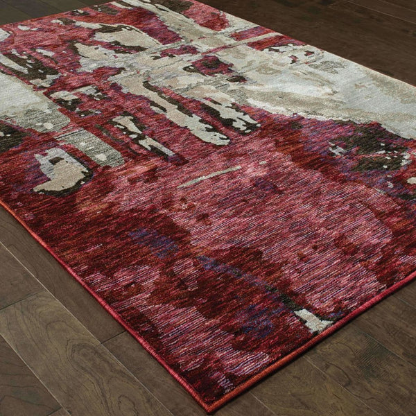Woven - Evolution Red Beige Abstract Abstract Contemporary Rug
