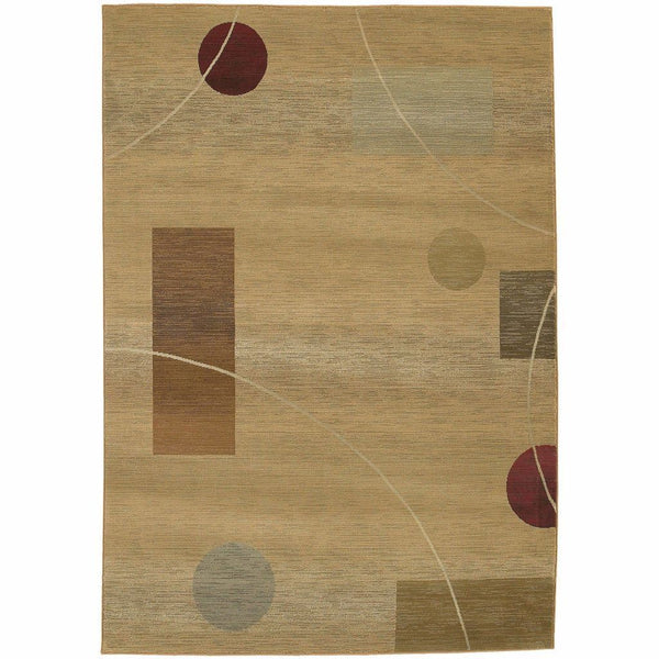 Generations Beige Red Abstract  Contemporary Rug - Free Shipping