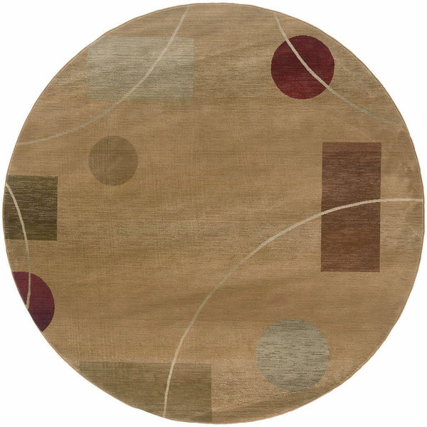 Woven - Generations Beige Red Abstract  Contemporary Rug