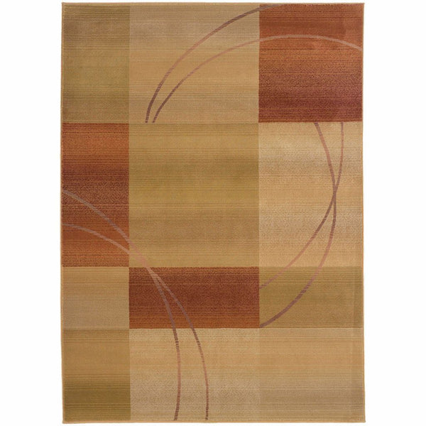 Generations Beige Rust Geometric  Contemporary Rug - Free Shipping