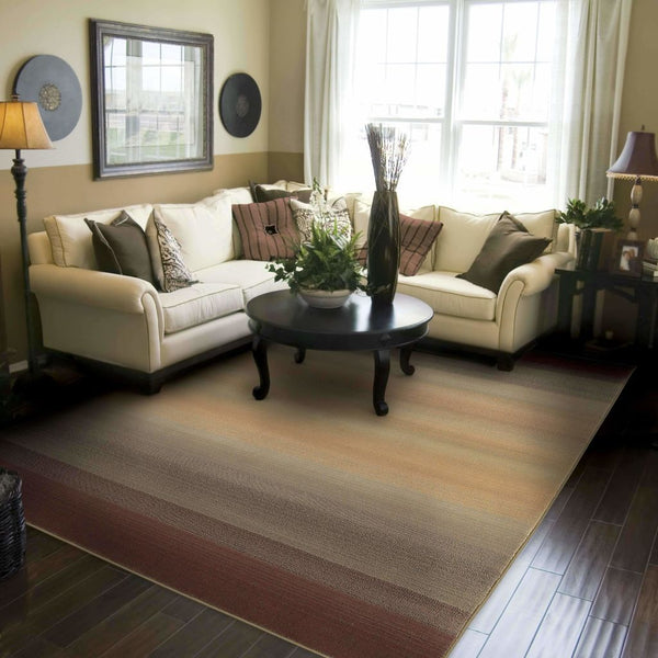 Woven - Generations Brown Beige Abstract Ombre Transitional Rug