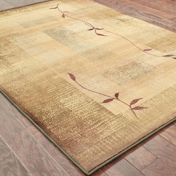 Woven - Generations Green Beige Border  Transitional Rug