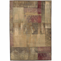 Generations Green Beige Geometric Patchwork Transitional Rug - Free Shipping
