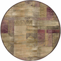Woven - Generations Green Beige Geometric Patchwork Transitional Rug