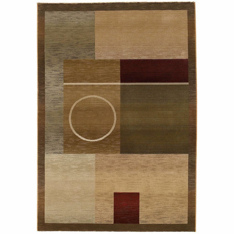 Oriental Weavers Generations Green Brown Geometric  Contemporary Rug