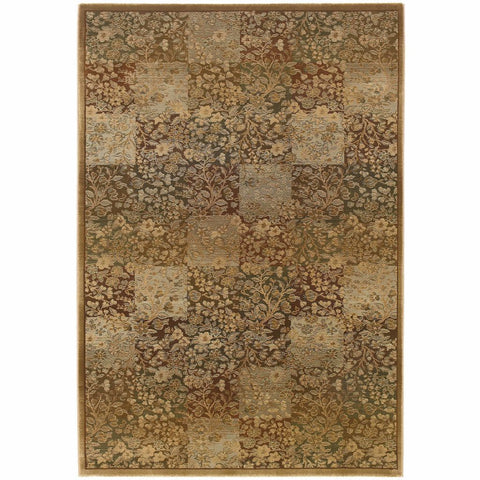 Oriental Weavers Generations Green Gold Floral  Transitional Rug