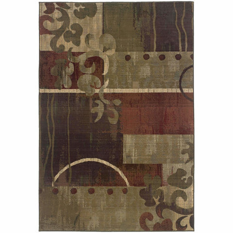 Oriental Weavers Generations Green Red Abstract Geometric Contemporary Rug