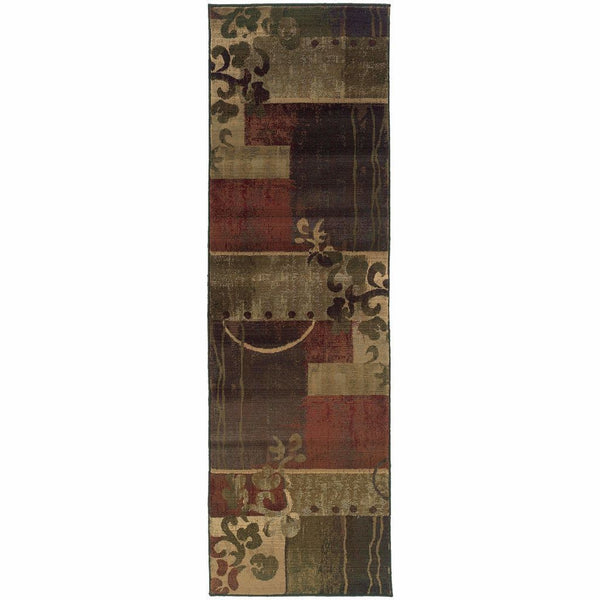 Woven - Generations Green Red Abstract Geometric Contemporary Rug