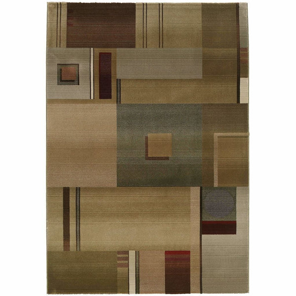 Generations Green Red Geometric  Contemporary Rug - Free Shipping