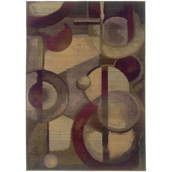 Generations Purple Green Abstract  Contemporary Rug - Free Shipping