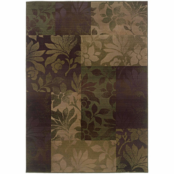 Generations Purple Green Geometric Botanical Transitional Rug - Free Shipping