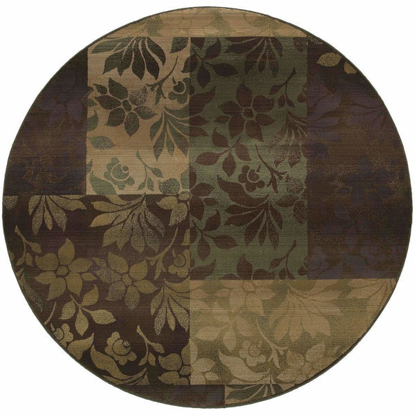 Woven - Generations Purple Green Geometric Botanical Transitional Rug