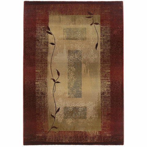 Generations Red Beige Border  Transitional Rug