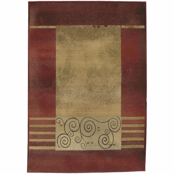 Generations Red Beige Border  Transitional Rug - Free Shipping