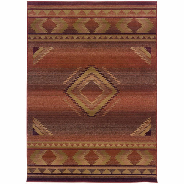 Generations Red Beige Southwest/Lodge  Transitional Rug - Free Shipping