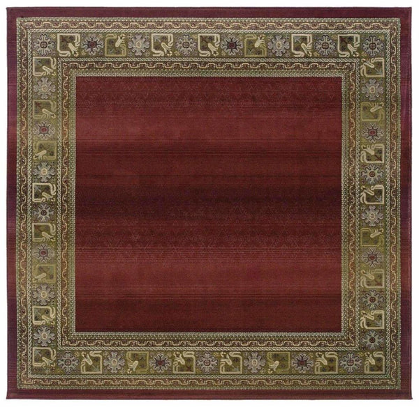 Generations Red Green Border  Transitional Rug - Free Shipping