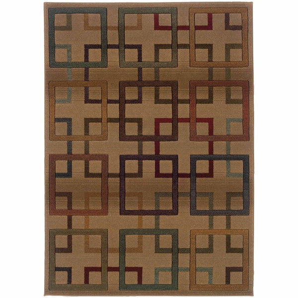 Genesis Beige Brown Geometric Blocks Transitional Rug - Free Shipping