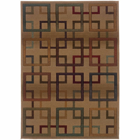Oriental Weavers Genesis Beige Brown Geometric Blocks Transitional Rug