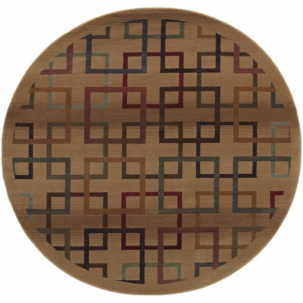 Woven - Genesis Beige Brown Geometric Blocks Transitional Rug