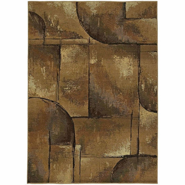Genesis Beige Green Abstract Geometric Transitional Rug - Free Shipping